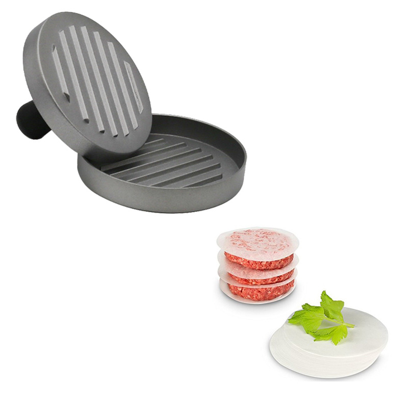 Amazon Hot Sell Aluminum Hamburger Patty Mould and Paper Single Non-Stick Burger Press