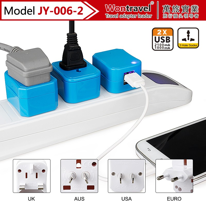 Universal World Travel USB Power Adapter Outlet AUS UK US EU Plug Charger