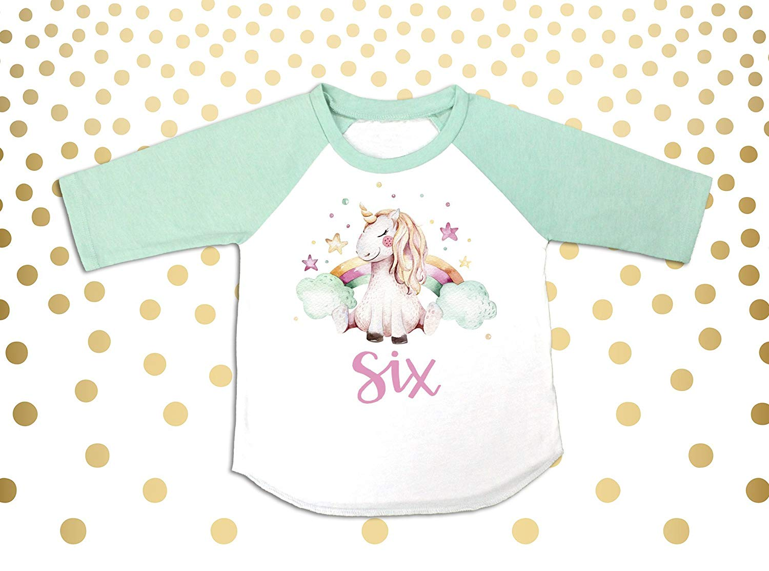Unicorn 6th Birthday Girls Outfit Six Shirt 6 Year Old