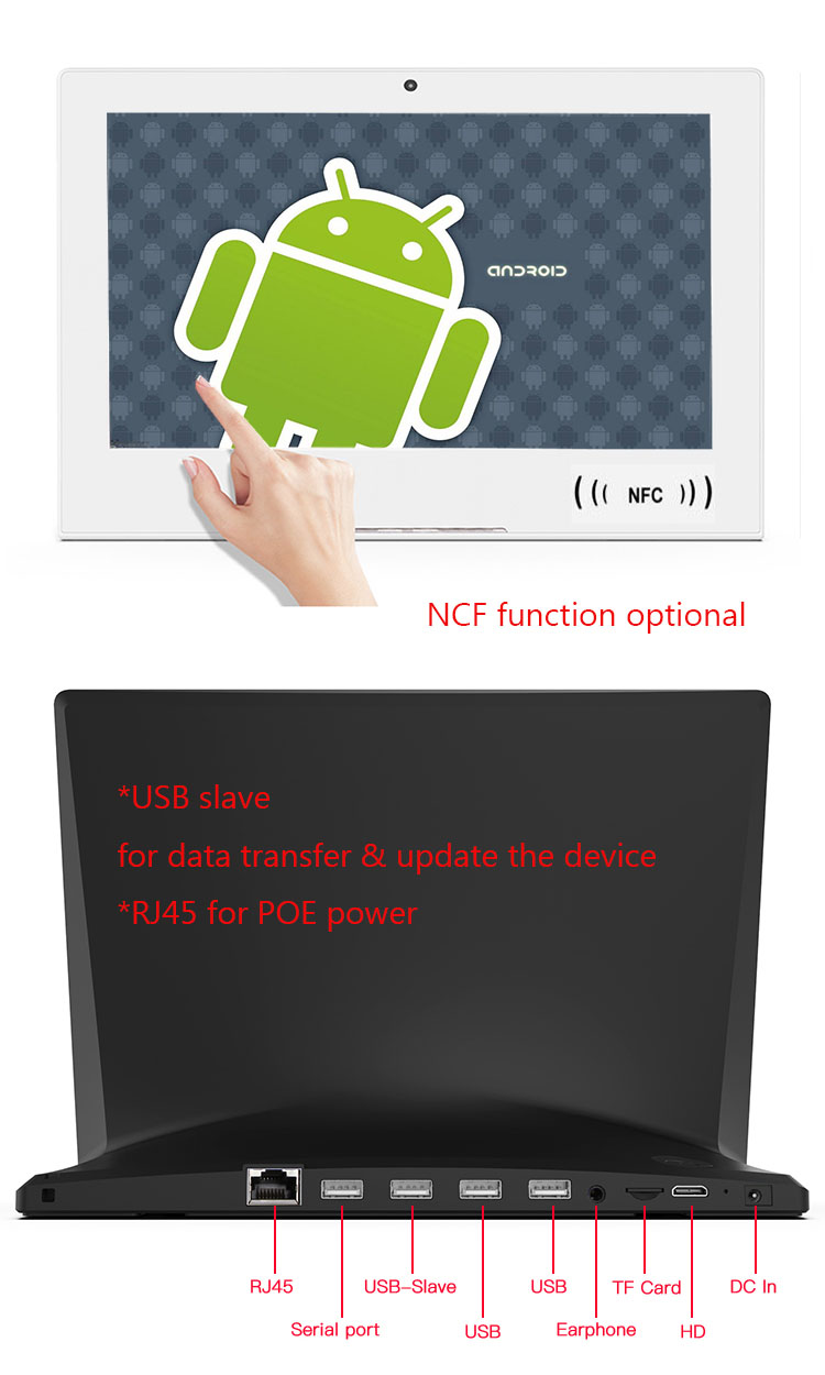 Tablet android pc 10 polegadas nfc android 8.1 poe quiosque/tablet de feedback com rs232/rs485