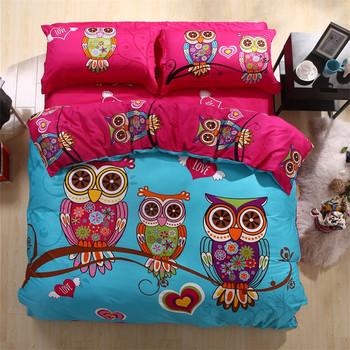 Owl Cartoon Colorful Manufacturer 100% Cotton Bedding Set ... : owl quilt cover - Adamdwight.com
