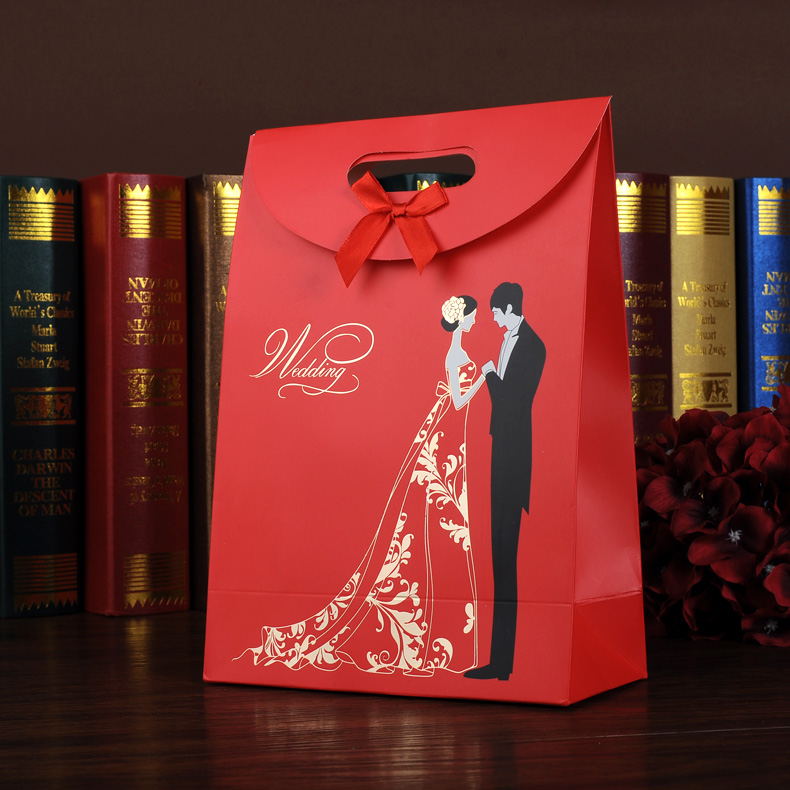 2017 luxo new design red presente de casamento saco de papel para o chocolate