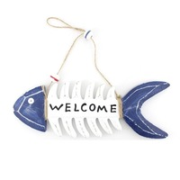 Nautical Handmade Fish Bone Decorative Wall Hanging Wood Sign