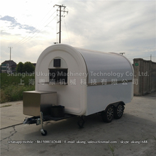 340*200cm, 2 axles fiberglass food trailer customized with fryer, gas burner, range hood, etc.