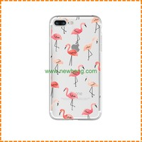 Wholesale Cartoon painting Flamingos transparent soft tpu back cover case for iphone7 plus