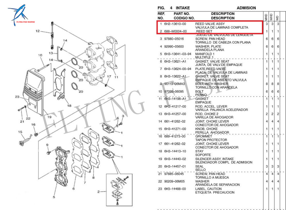 6h2 13610 00 0 Intake Reed Valve Assy For Yamaha 60hp 70hp