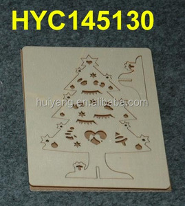 custom natural wooden 3D laser engraving puzzle card