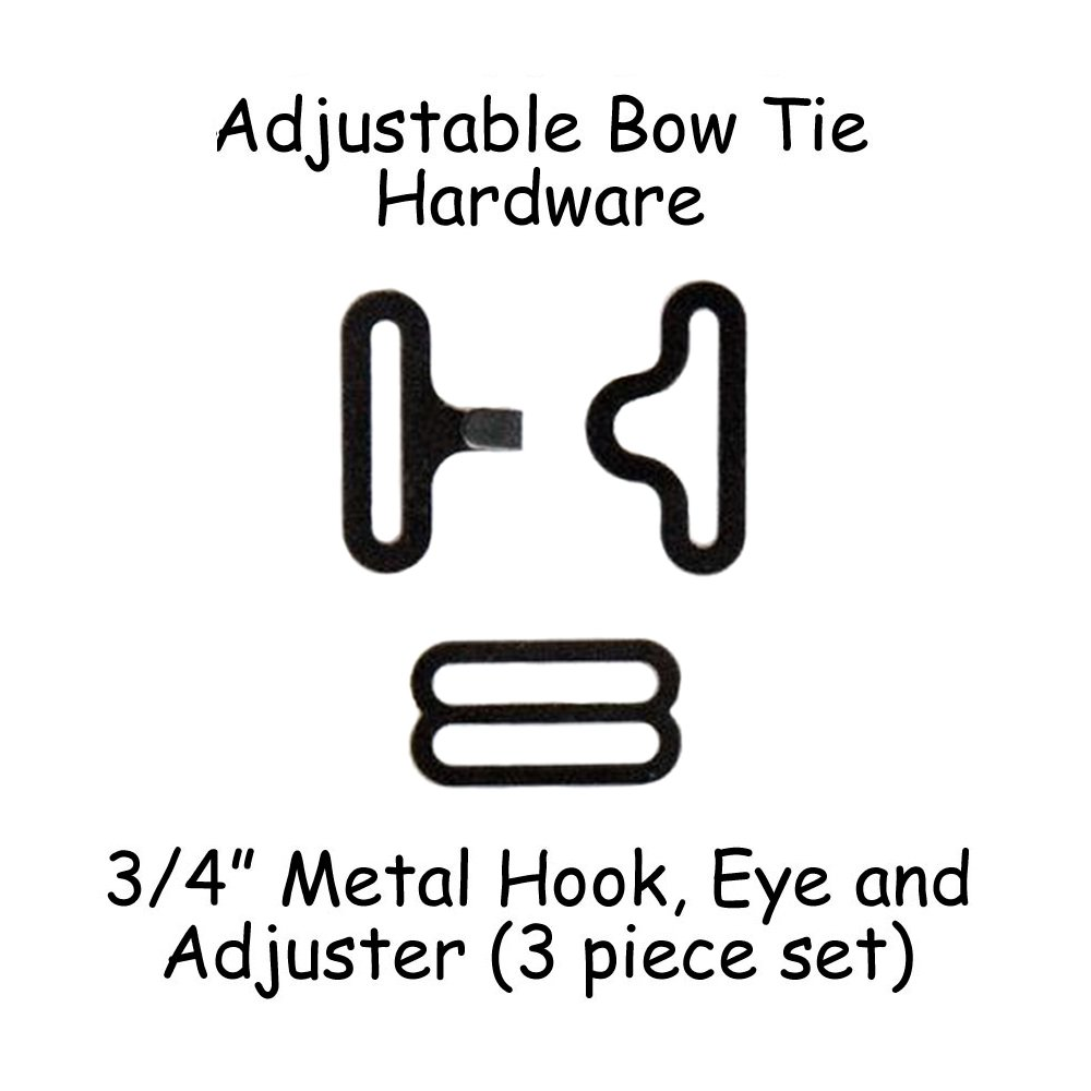 "Adjustable Bow Tie Hardware Clips - 3/4"" Black Metal - 10 Sets"