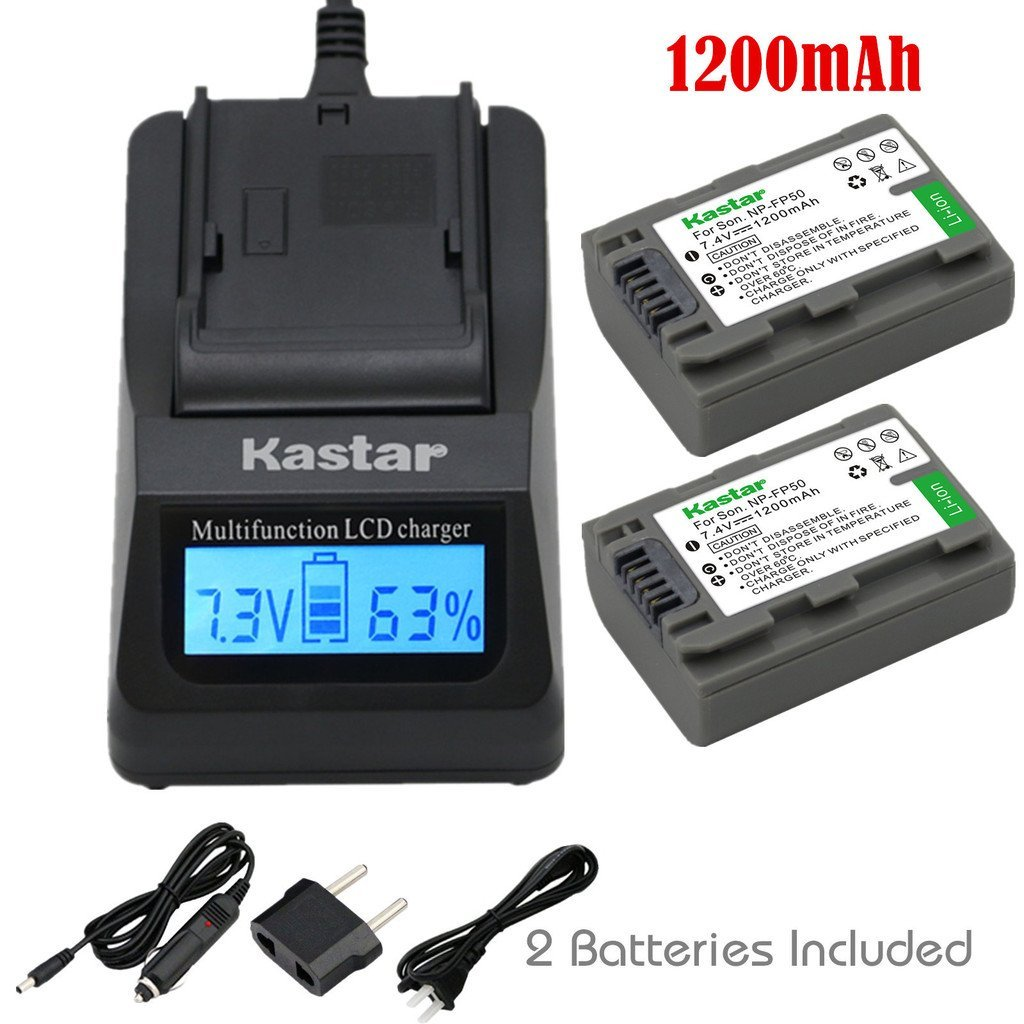 Kastar Fast Charger and Battery 2x for Sony NP-FP30 NP-FP50 NP-FP51 and Sony DCR-HC16 DCR-HC18 DCR-HC19 DCR-HC20 DCR-HC21 DCR-HC22 DCR-HC23 DCR-HC24 DCR-HC26 DCR-HC30 DCR-HC32 DCR-HC33 DCR-HC35