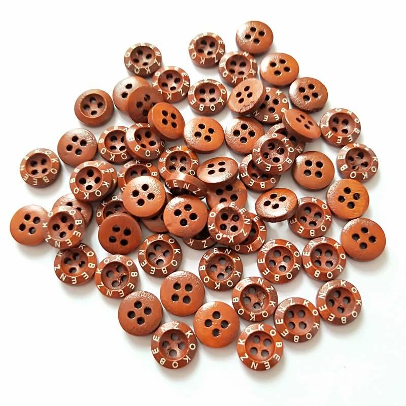 High quality 18L 4-holes custom natural wood shirt buttons