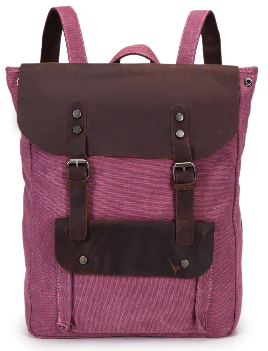 Classic genuine leather trim canvas travelling backpack bag laptop wholesale