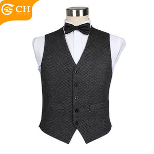 Shengzhou Custom 2018 Mens Black Fancy Waiters Waistcoats On Sale