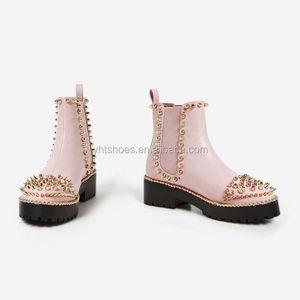 d10896897bb2 Chengdu custom Logo Punk style stud comfortable flat heel ladies shoes Pink boots  women 2018