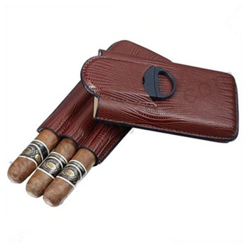 Brown Leather 3 Finger Cigar Case with Cigar Cutter On Sale