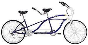 "J Bikes by Micargi Island 26"" 18-Speed 2-Seater Tandem Bicycle Beach Cruiser Bike - Blue"