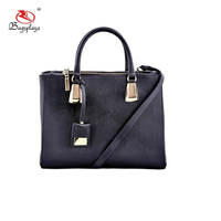 China suppliers black simple handbags manufacturer PU leather gold high quality metal handbags for women