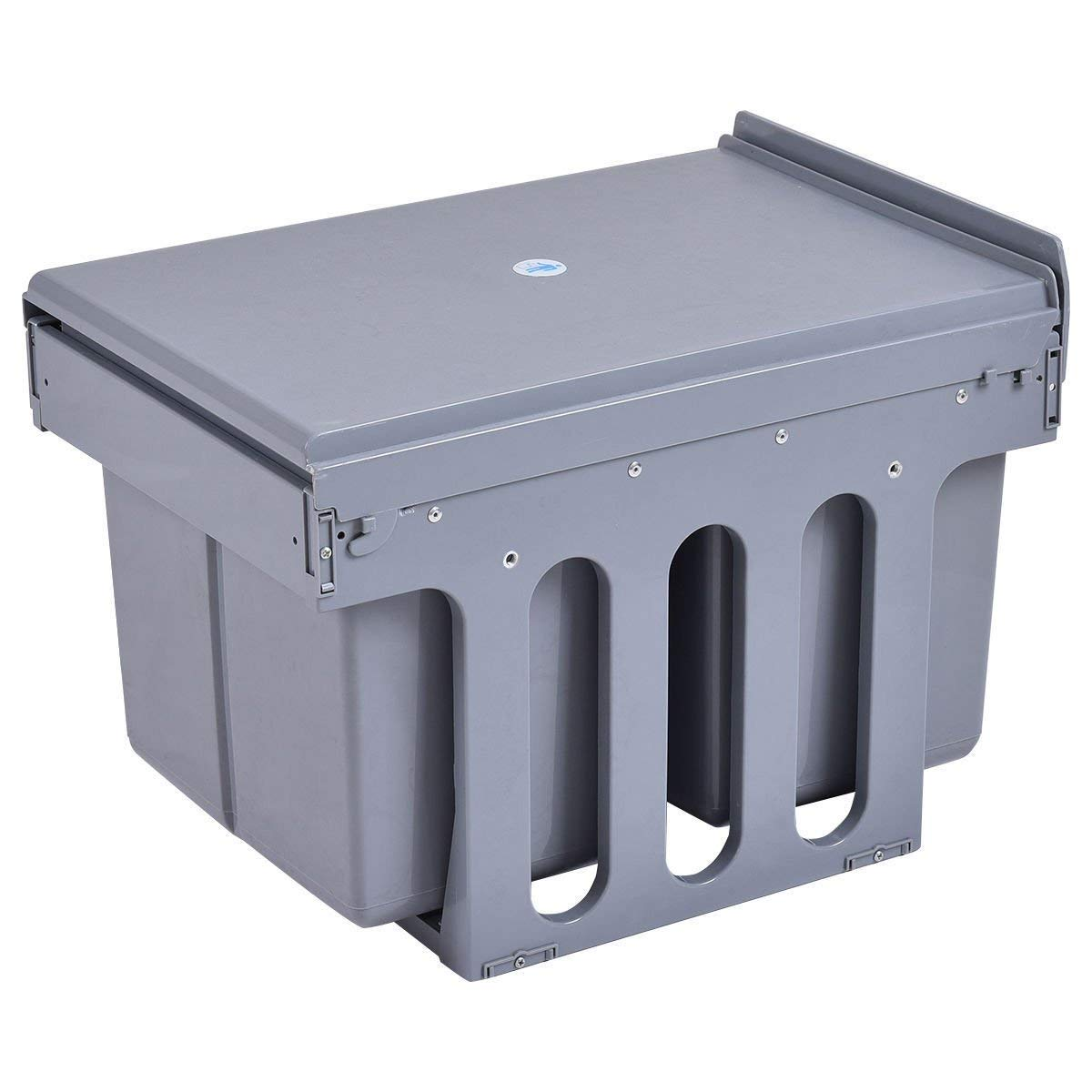 Recycling Waste Bin Rubbish Trash 2-Compartment 8 Gal Household Kitchen Pull Out