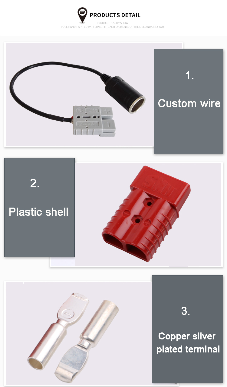 Oem Wire Harness Forklift Battery Auto Power Connector 50 Amp Wiring Connectors Charging Plug With 12v Socket