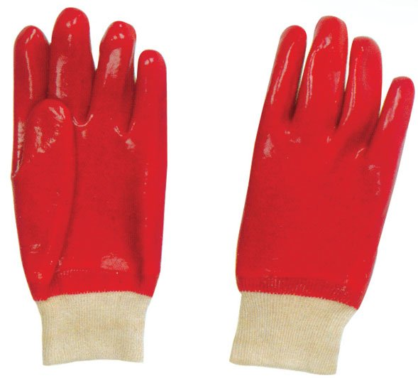 Red PVC Coated Glove Knit Wrist Work Glove Safety Products