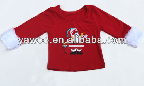High quality infant fall clothing Xmas Santa toddler red t-shirt baby girl top ruffle tshirt baby tee