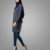 Muslim Lady Daily Wear Faded Navy Simple Cotton Tunic Long Sleeve Elegant Tops Islamic Clothing