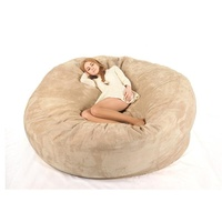 Microsuede 7ft foam bean bag,memory foam bean bag lazy sofa