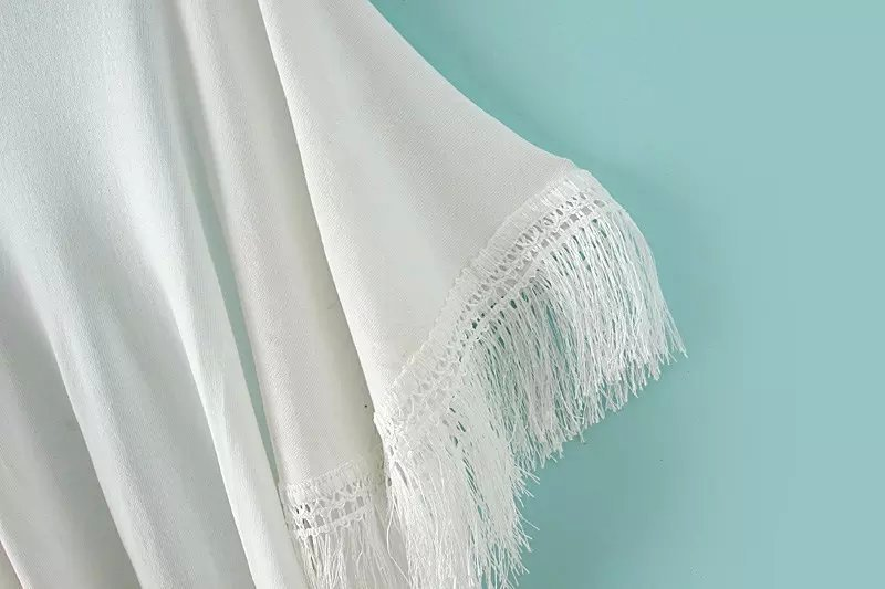 6588 мода женская белый кисточкой элегантный тотем кимоно широкий свободного покроя кардиган этническая вышивка шить бахромой свитер