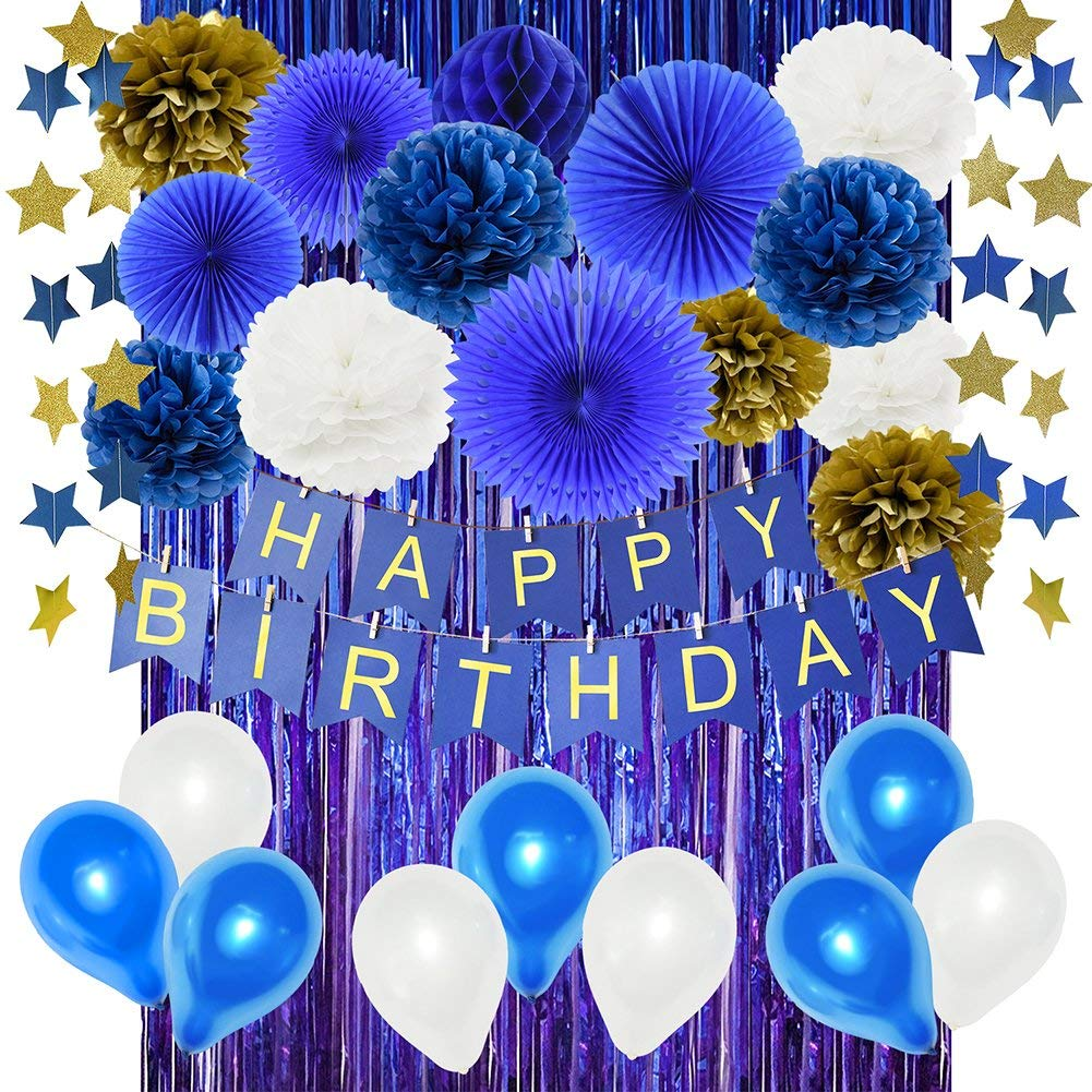 Navy Birthday Decorations For Boy 1st Party HAPPY BIRTHDAY Banner Tissue Pom Poms Blue