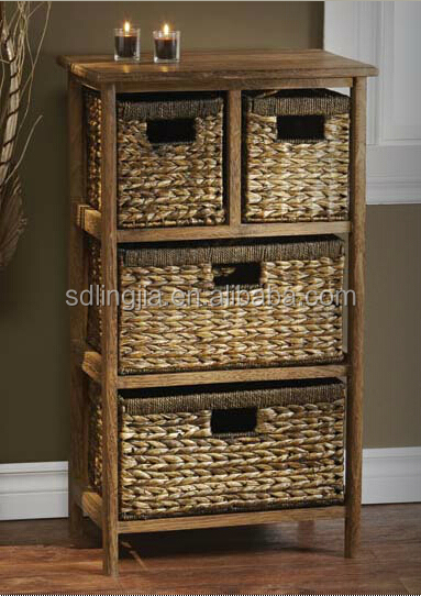 Deluxe White Wood Wicker Chest Of Drawer Cabinet Furniture Hobby ...