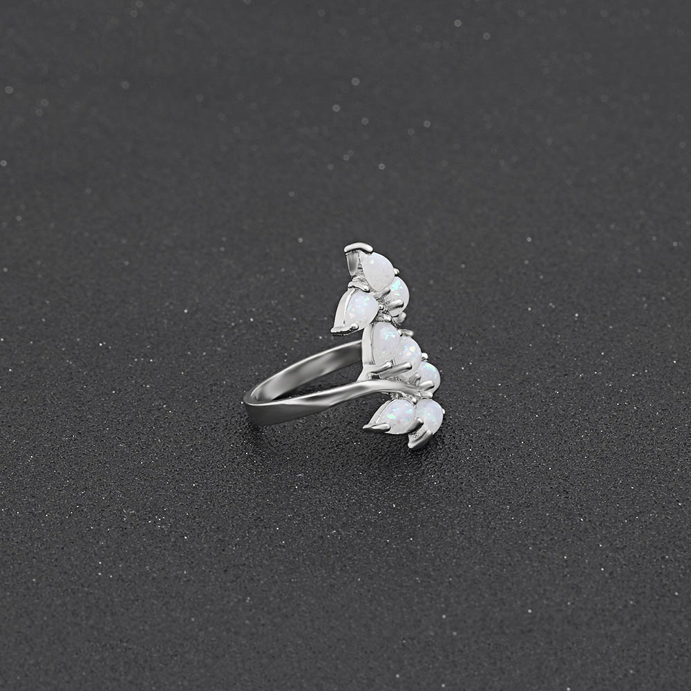 wholesale Romantic women wedding ring White Opal ring Leaves shape plated silver ring