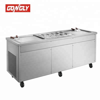 Professional durable single pan and double pan stir fry ice cream machine / Flat two pan fried ice cream