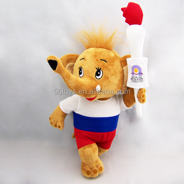 Olympic Sport Games mascot plush elephant toy with torch