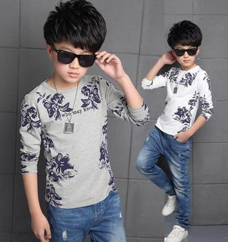 Zm32290a Simple Children Boys T Shirts Casual Long Sleeve Flower
