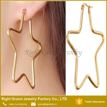 316L Surgical Steel Earring Jewelry Yellow Gold Plated Charm Hoop Star African Earrings
