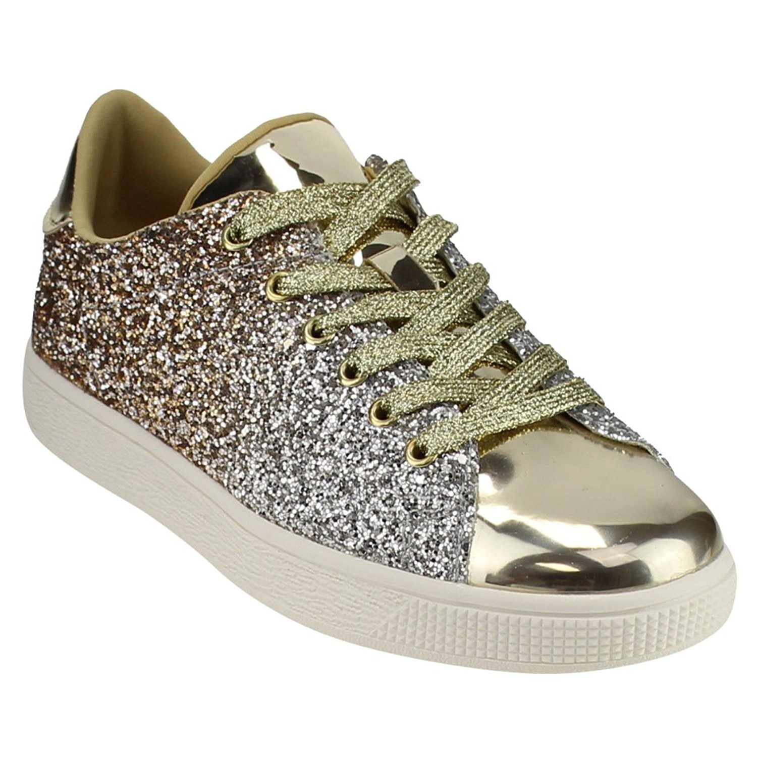 Forever Link Women Fashion Light Weight Glitter Metallic Leatherette Quilted Lace Up Shoe Lace Up Low Top Stylish Sneaker (6, Gold Glitter-1)