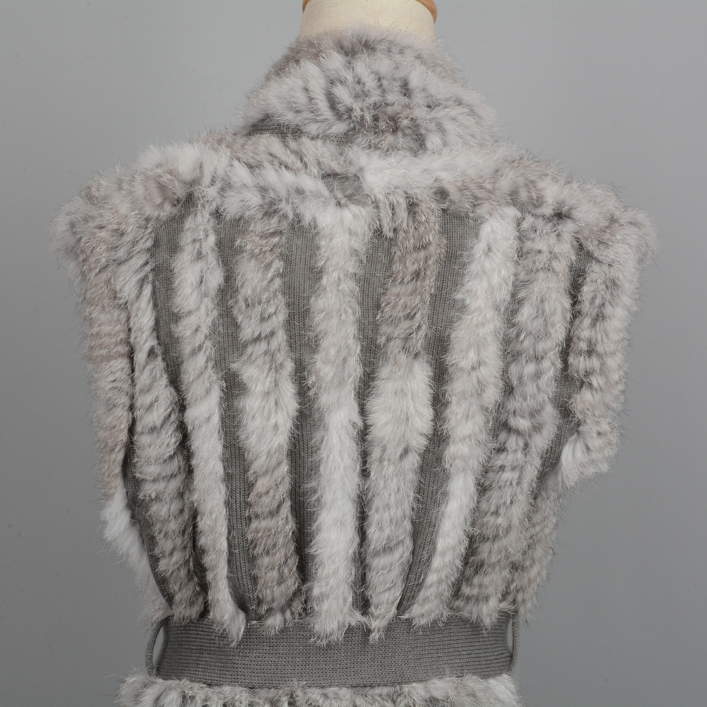 New Coming Genuine Fur Gilet Lady Rabbit Fur Knitted Vest Spring Autumn Winter Fashion Coat