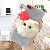 Lovely anime cartoon soft fur cat dog phone case for iphone x xr xs max 7/8 warm hairy fur back cover