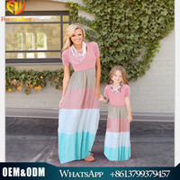 2017 wholesale mother and daughter dress family matching clothes mom and me cotton dress