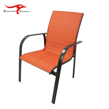 Outdoor Leisure Garden Furniture Steel Tube Sling Fabric Stacking Chair