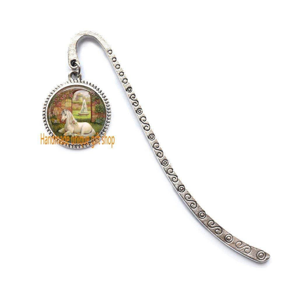 Fashion Bookmark,Unicorn Bookmark, Unicorn Jewelry, Secret Garden, Fairy Tales, Fantasy Art Bookmarker-RC172 (A)