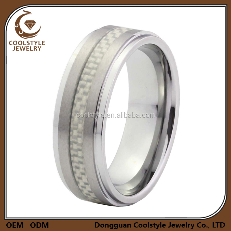 Brushed center inlay white carbon fiber tungsten carbide ring