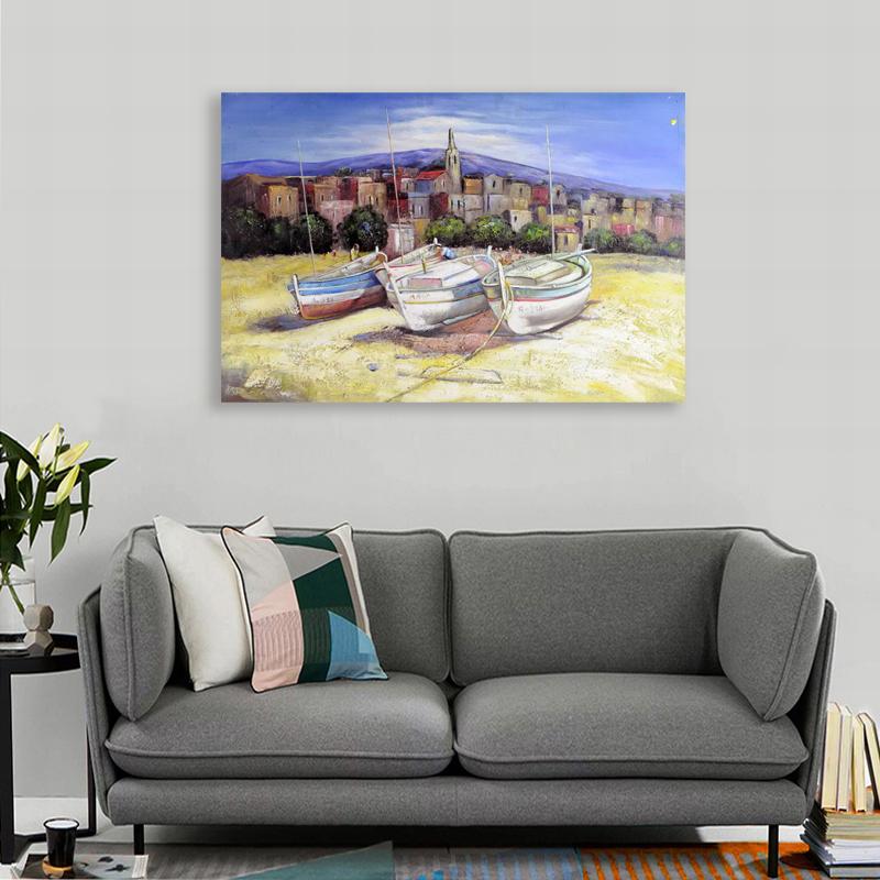 Arte Abstracto pintado a mano playa pinturas de veleros para sala ...