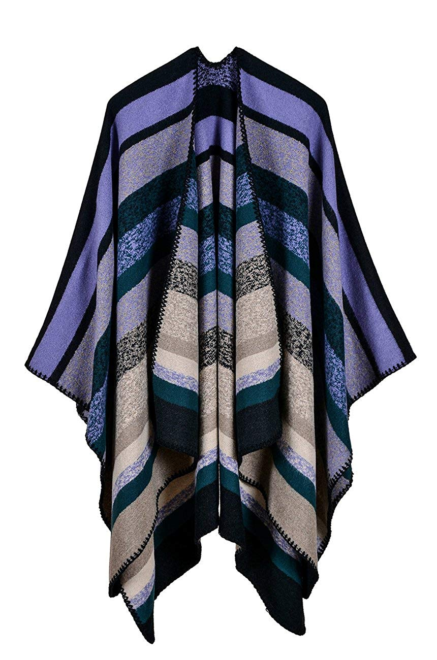 fc77c1bfd Get Quotations · Hiwil Womens Striped Blanket Ponchos Knited Faux Cashmere  Shawl Cardigan Capes Wraps