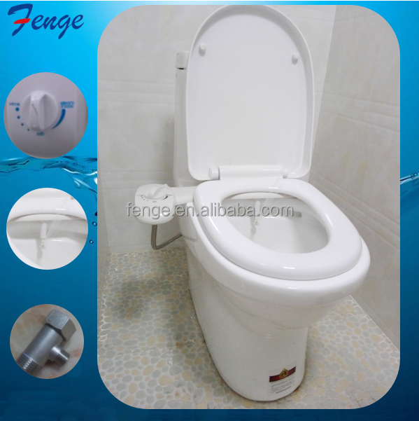 Hygienic Bathroom Parts Non-electric plastic cold water wc Toilet Bidet and Toilet in One