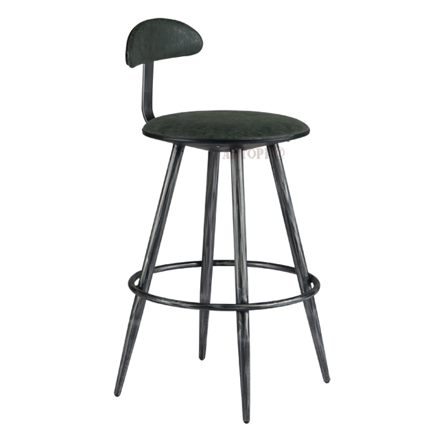 High back out door leather metal bar stool chair