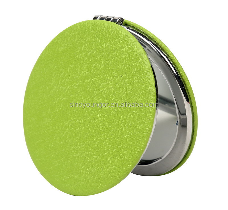 Personalized round pu leather small hand makeup mirrors