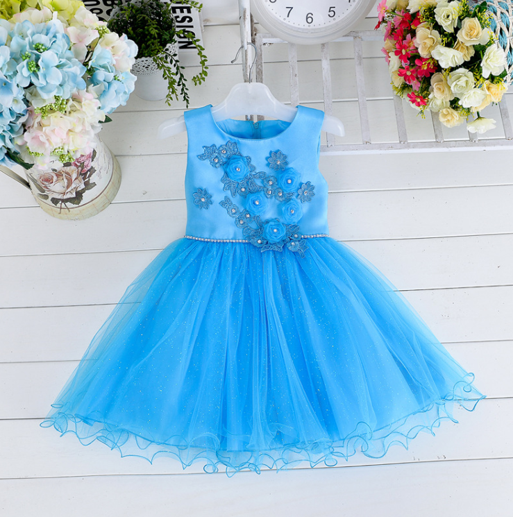 Venta Al Por Mayor De Los Niños Boutique De Ropa Haciendo Tela Flores Azul Formal Elegante Vestidos De Niña Buy Vestido Para Hacer Flores De Tela