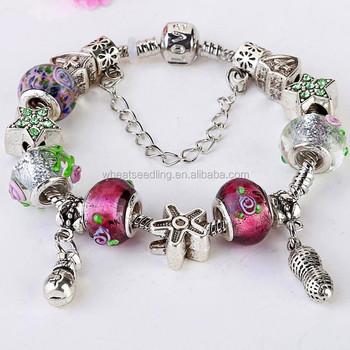 3af233b819fd Nuevo 2015 joyería de moda hecha a mano encanto Murano cuentas de cristal  pulsera de cadena