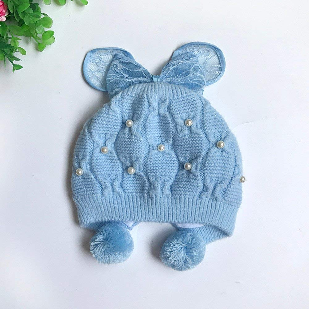 Jshuang Knitted Butterfly Lace Baby Toddler Winter Beanie Warm Hat Knitted Cap Kids,Pearl Bow Baby Hat Baby Hat Plus Velvet Winter Hat Baby Wool Knitting,Suit from 1-6Months (Blue)
