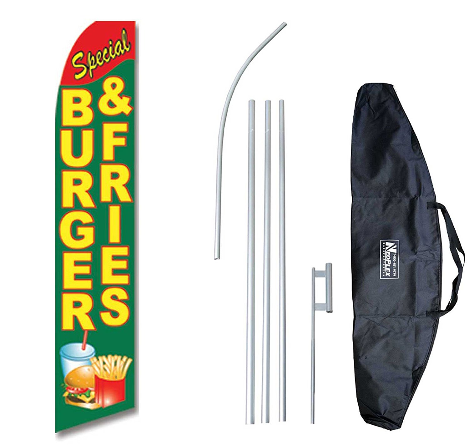 """""""Special Burger & Fries"""" 12-foot Swooper Feather Flag and Case Complete Set...includes 12-foot Flag, 15-foot Pole, Ground Spike, and Carrying/Storage Case"""